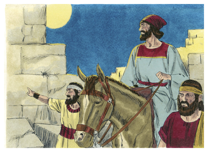 Nehemiah examines Jerusalem's wall br(used with permission of Sweet Media via Wikimedia Commons)