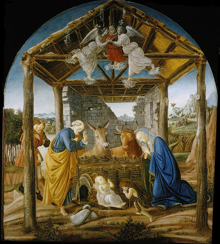 Nativity of Jesus by Botticelli (public domain via Wkimedia Commonns)